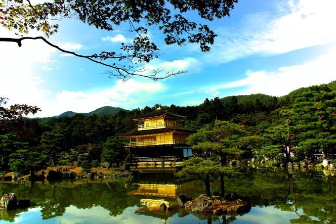 Golden temple autumn Kyoto